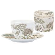 Набор: 2 чашки + 2 блюдца для кофе Ботаника (бежевый) в подарочной упаковке