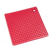 Прихватка-подставка вафельная силиконовая красная