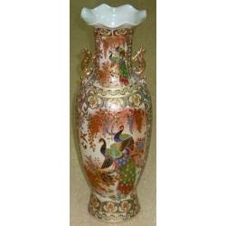 Бежевая ваза с позолоченными ручками 61 см. Керамика