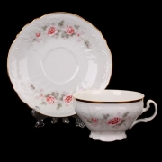 Набор для чая на 6перс.12пред. низ. на ножке «Роза серая 5396011»