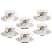 Набор: 6 чашек + 6 блюдец Апрельская роза