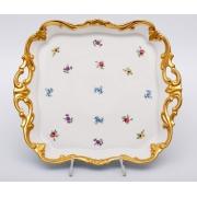 Блюдо квадратное 30см «Мейсенский цветок»