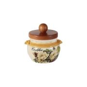 Банка для сыпучих продуктов с деревянной крышкой (кофе) Роза и малина