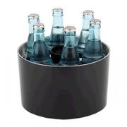 Емкость для охлажд.бутылок(6бутылок+открывалка), пластик,сталь нерж., D=230/67,H=140мм, черный