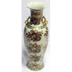 Бежевая ваза с золотым рисунком (матовая) 61 см. Керамика