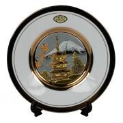 Тарелка декоративная 15 см белая с подставкой Пагода в сакуре (silver)