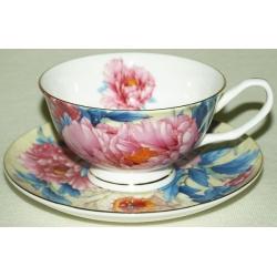 Чашка с блюдцем «Разноцветные пионы»