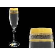 Бокал для шампанского Люция, Широкое золото + бесцветная волна