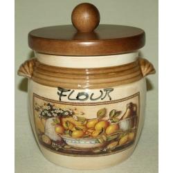 Банка для сыпучих продуктов с деревянной крышкой (мука) «Лимоны» 0,75 л