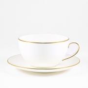 Чашка капуччино 0,33л с блюдцем 16см «Белый с золотом»
