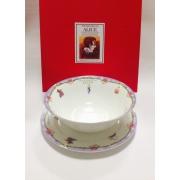 Набор из двух предметов: Тарелка + салатник «Алиса» фиолетовый кант