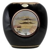 Ваза черная плоская 18 см Пагода у реки