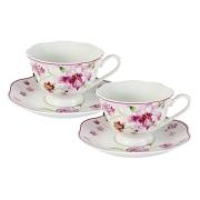 Набор: 2 чашки + 2 блюдца Розовые цветы