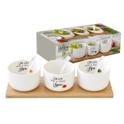 Набор д/закуски: 3 салатника 8см с 3 ложками на подносе Kitchen Elements в подарочной упаковке