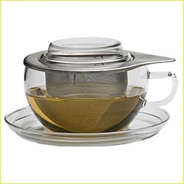 Набор для чая 4 предм. «Ти тайм», стекло,нерж., 530мл, H=73,L=162,B=156мм, прозр.,серебрян.