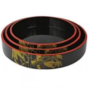 Блюдо-барабан для суши пластик; D=36,H=5см; черный,желт.