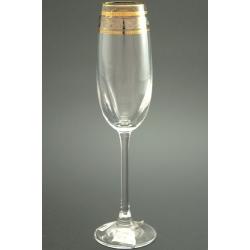 Бокал для шампанского 180 мл «Эсприт» оптика панто декор комбинация платины и золота +золотая кайма по краю рюмки