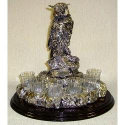 Набор для водки «Сова» Изделия из хрусталя с металлом. 6 стопок