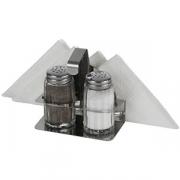 Набор соль/перец+салфетница, сталь нерж.,стекло, 50мл, H=90,L=100,B=75мм, серебрян.,прозр.