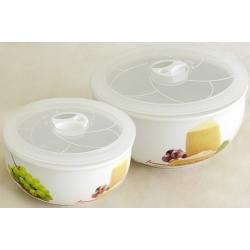 Набор из 2-х салатников с крышками «Сыр, вино и виноград» 16 и 13 см