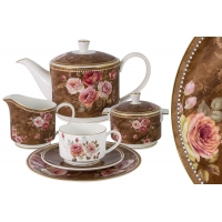 Чайный сервиз Английская роза 21 предмет на 6 персон в подарочной упаковке