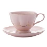 Чашка с блюдцем (розовая) Свежее дыхание в подарочной упаковке