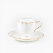 Набор из 6 кофейных пар 100мл «Белый с золотом»