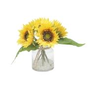 Декор.цветы Подсолнухи в стекл.вазе