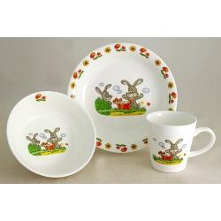 Детский набор посуды из 3-х предметов «Зайчики»