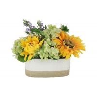 Декоративные цветы Подсолнухи и гортензии в керамической вазе