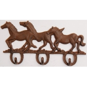 Вешалка лошади 3 крючка чугун 18х33 см.