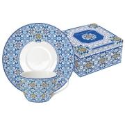Набор: 2 чашки + 2 блюдца Майолика (голубая) в подарочной упак.