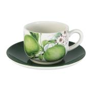 Чашка с блюдцем Зеленые яблоки