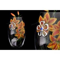 Ваза декоративная 30 см с искусственными цветами (оранжево-желтыми).Стекло и хрусталь
