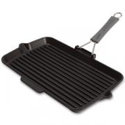 Сковорода гриль чугунная, 34х21 см, цвет черный