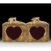 Фоторамка двойная «сердечки» цвет - золото 7х18 см