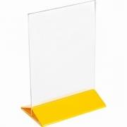 Подставка наст. для меню А5 H=22, L=15.5, B=9.5см; прозр. , желт.