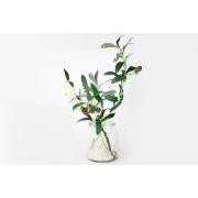 Декоративные цветы Сакура белая и ветвь оливы в стекл.вазе