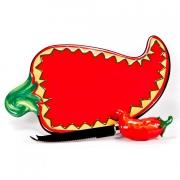 Набор 2пр.: Доска керамическая для сыра 23,5см, с ножом «Красный перец»