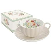 Чашка с блюдцем Королевский сад (бежевая)
