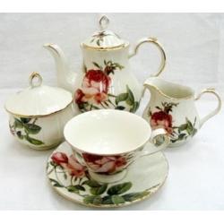 Чайный сервиз «Роза Альба» (красная) на 6 персон 15 предметов