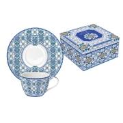 Набор: 2 чашки + 2 блюдца для кофе Майолика (голубая) в подарочной упак.