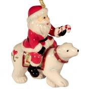 Подвеска 8 см Дед Мороз на белом медведе