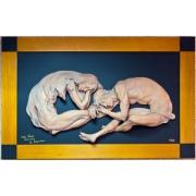 Скульптура-картина в деревянной раме «Двое»
