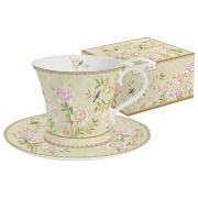 Чашка с блюдцем Дворцовый парк (бежевая) в подарочной упак.