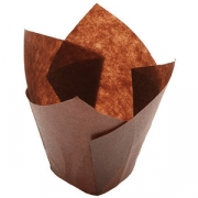 Тарталетки «Тюльпан» [200шт], бумага, D=5,H=8см, коричнев.