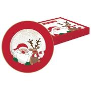 Тарелка десертная Дед Мороз с оленем в подарочной упаковке