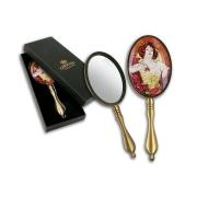 Зеркало ручное в подарочной упаковке, А. Муха, Изумруд