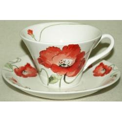 Чашка с блюдцем «Алые маки»  Объем 0,25 л