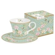 Набор: 2 чашки + 2 блюдца для кофе Дворцовый парк (салатовый) в подарочной упак.